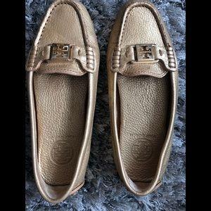 Tory Burch metallic gold loafers